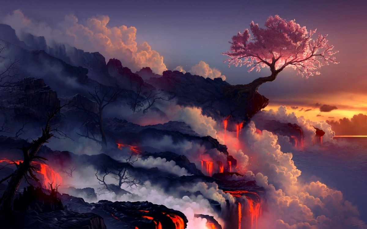 Lava landscape and cherry tree